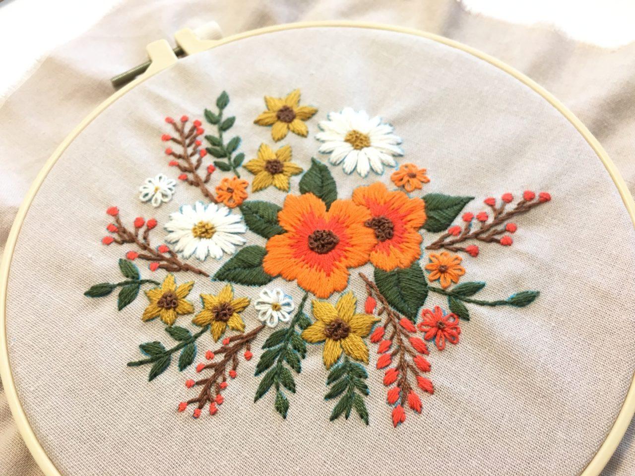 お花の模様の刺しゅう