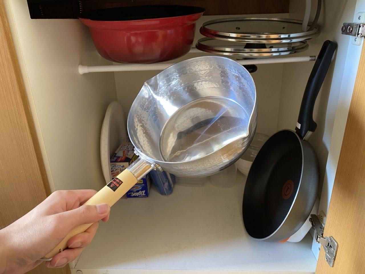 次は雪平鍋を収納