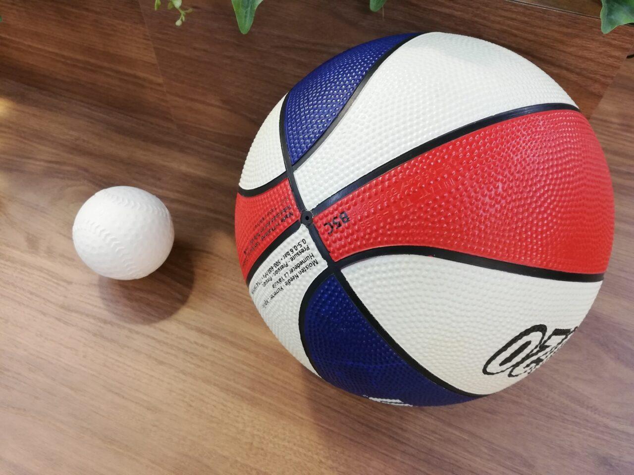 野球ボールとバスケットボール