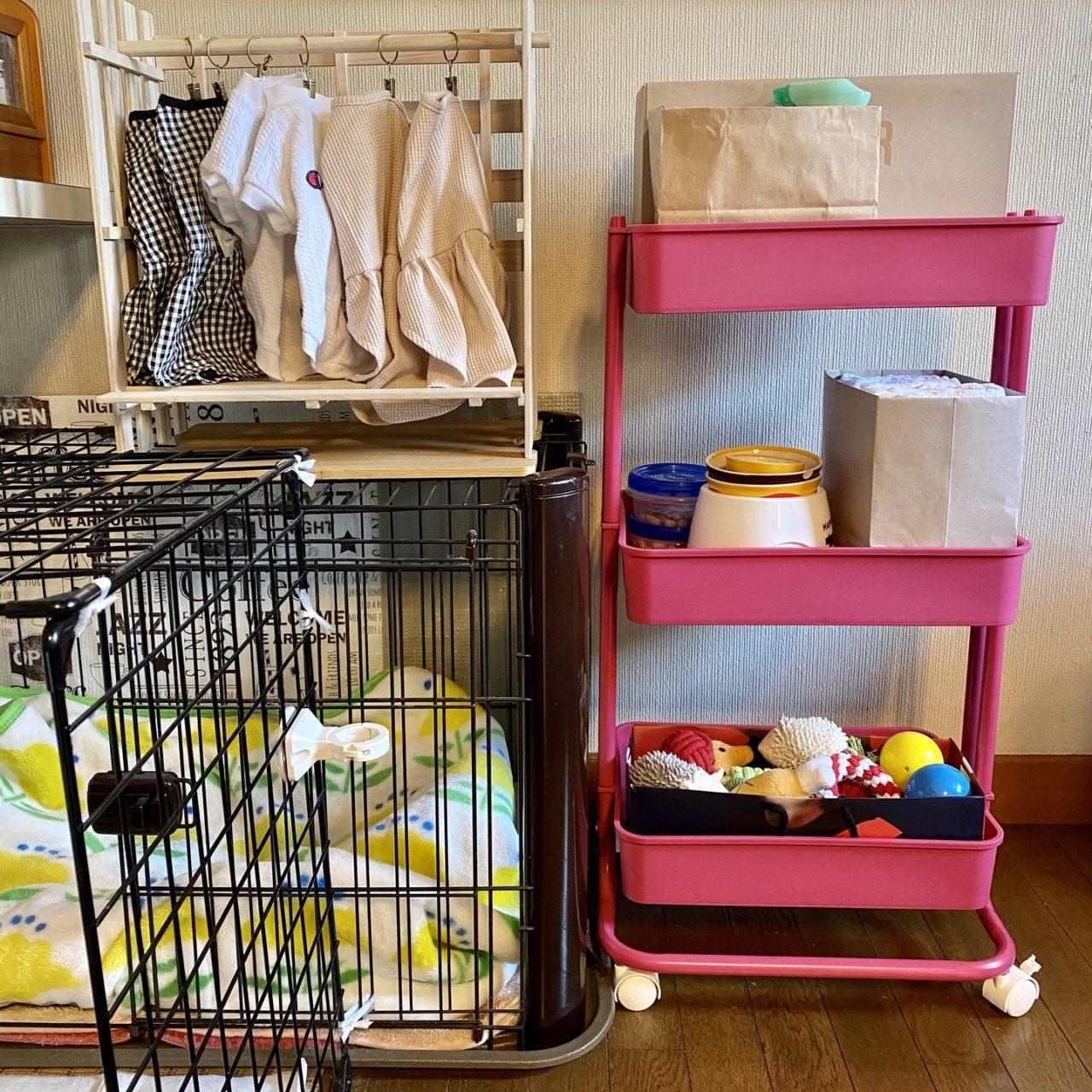 犬の生活用品の収納と並べてみた図