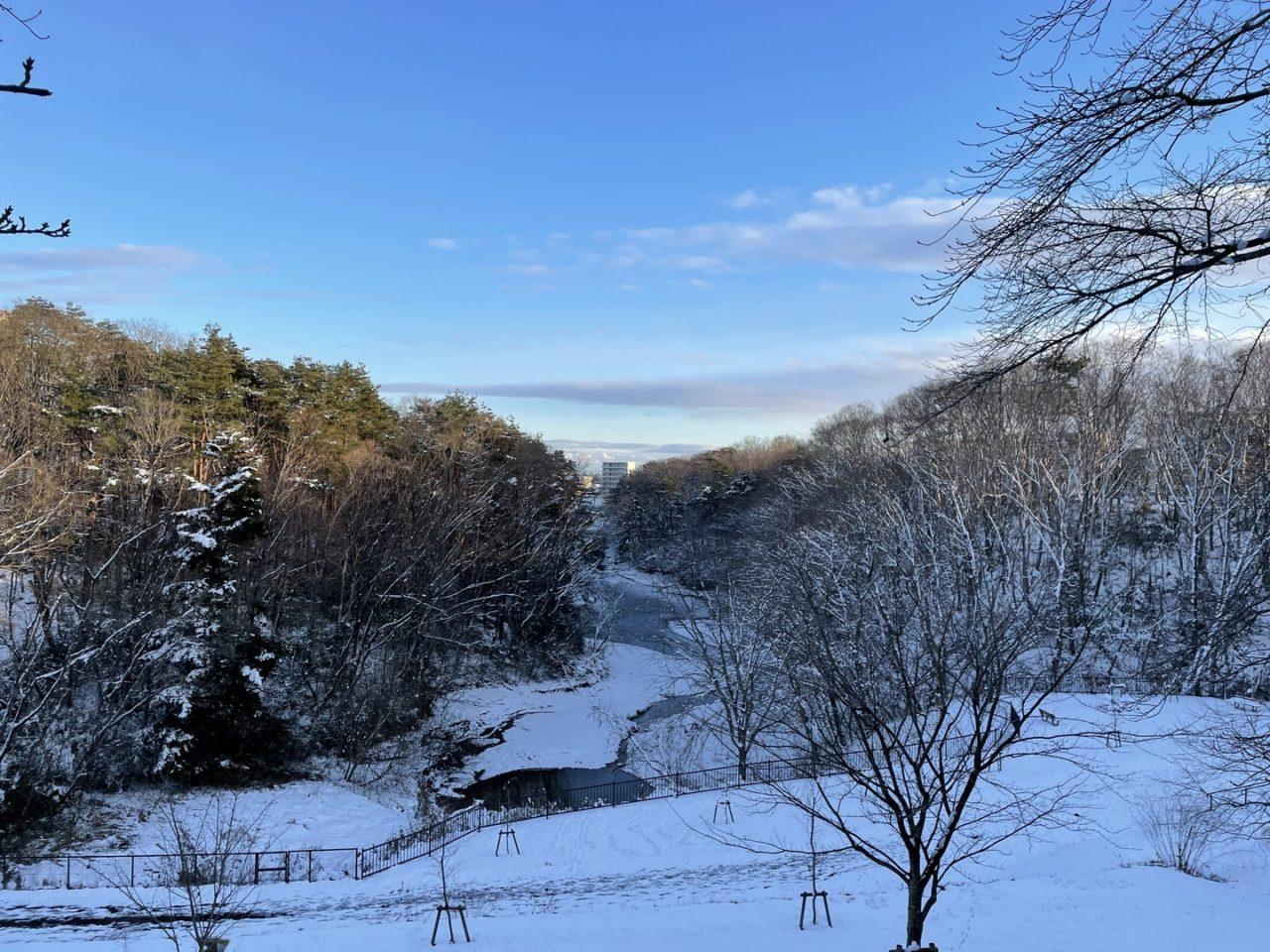 青空と雪の積もった山