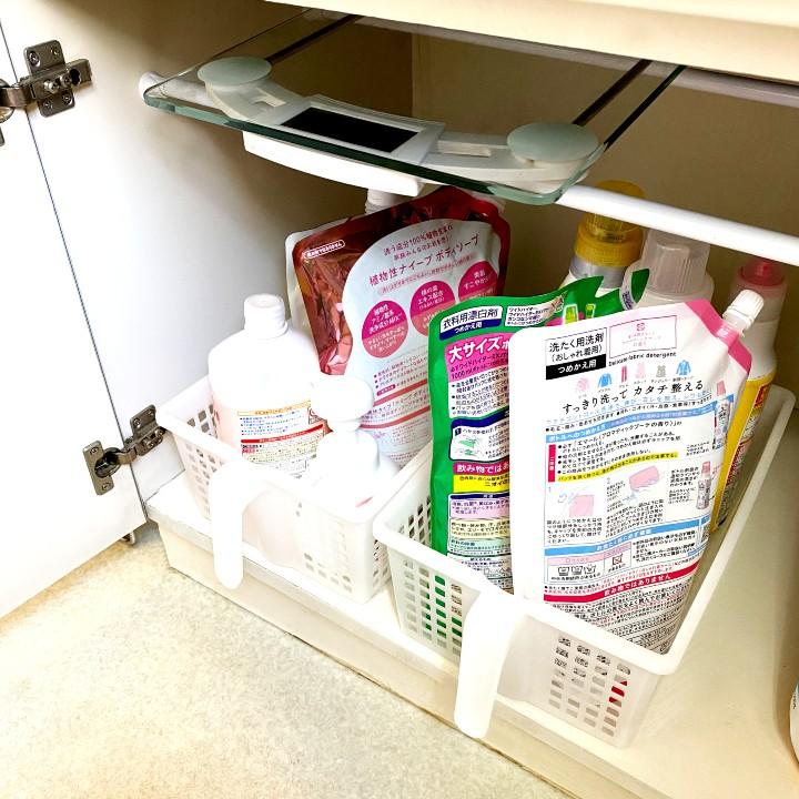 洗面台下収納に体重計置き場をつくる収納方法