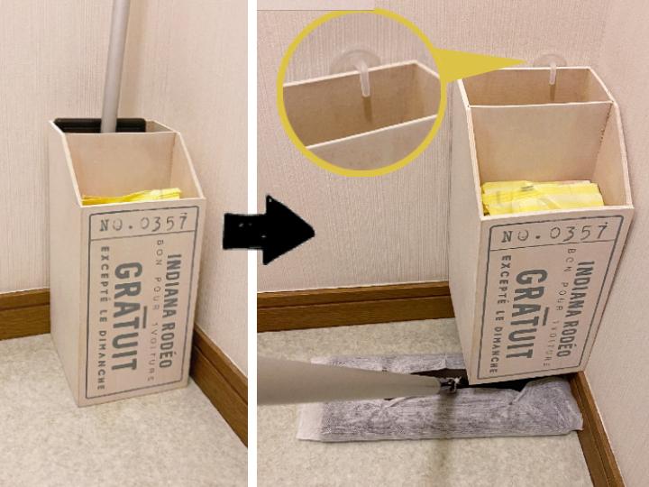 洗面所に置いたフローリングワイパー専用収納箱を浮かせる収納に