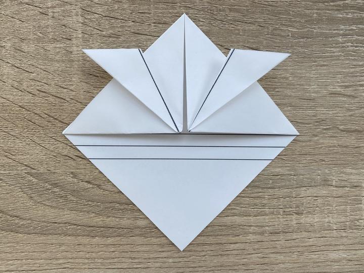 ⑤頂点部分に合わせて半分に折り曲げた両端を更に外側におります。