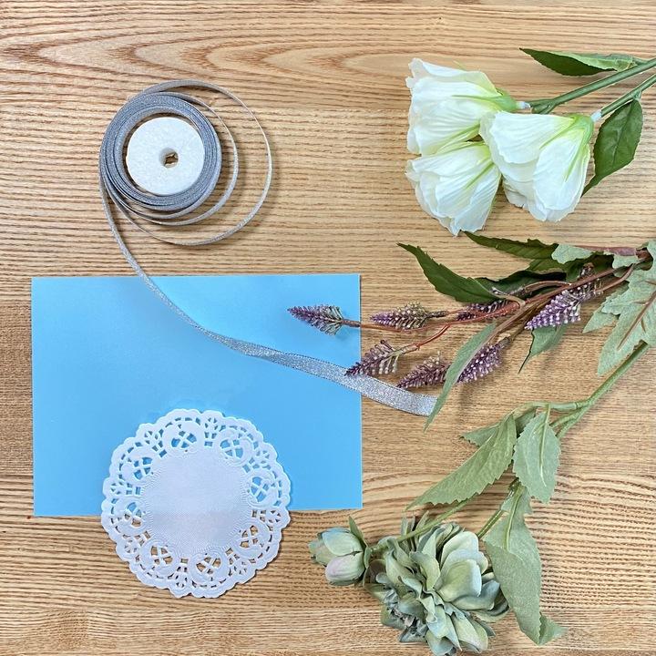 造花ミニブーケの手作りメッセージカードの材料
