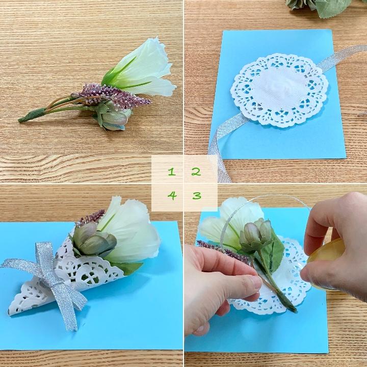 造花ミニブーケの手作りメッセージカード手順詳細