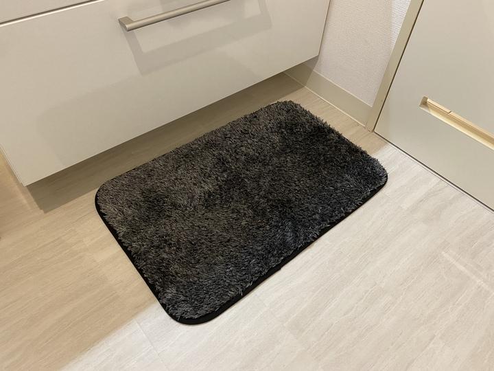 バスマットを洗面所の床に置いている