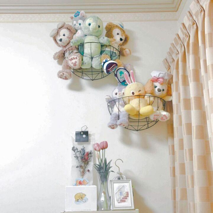 ぬいぐるみ 見せる収納 ワイヤーバスケット 壁飾り